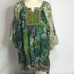 DRESSBARN 3X SCOUP NECK  BOHO WOMENS BLOUSE